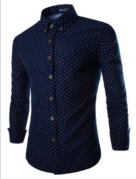 Camisa Masculina Mens Dress Shirts 2015 Brand New Men Cotton Slim Fit Polka Dot Long Sleeve