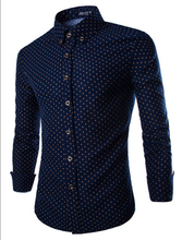 Camisa Masculina Mens Dress Shirts 2015 Brand New Men Cotton Slim Fit Polka Dot Long Sleeve French Cuff Social Shirt ZHY1680