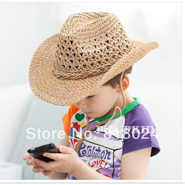 10 шт. корейский мальчики-младенцы большой краев лето соломенные шляпы дети солома ковбойские шляпы дети солнцезащитные головные уборы солнцезащитный козырек