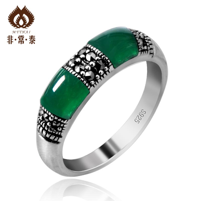 Green agate ring 925 pure silver thai silver ring Women yeh ring(China (Mainland))