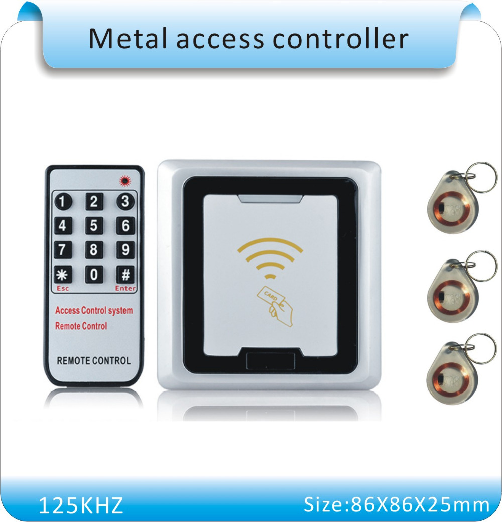 Free shipping 86X86mm metal shell rfid lock system door Support 500 users RFID Card Door Access Controller+5 crystal keyfob(China (Mainland))