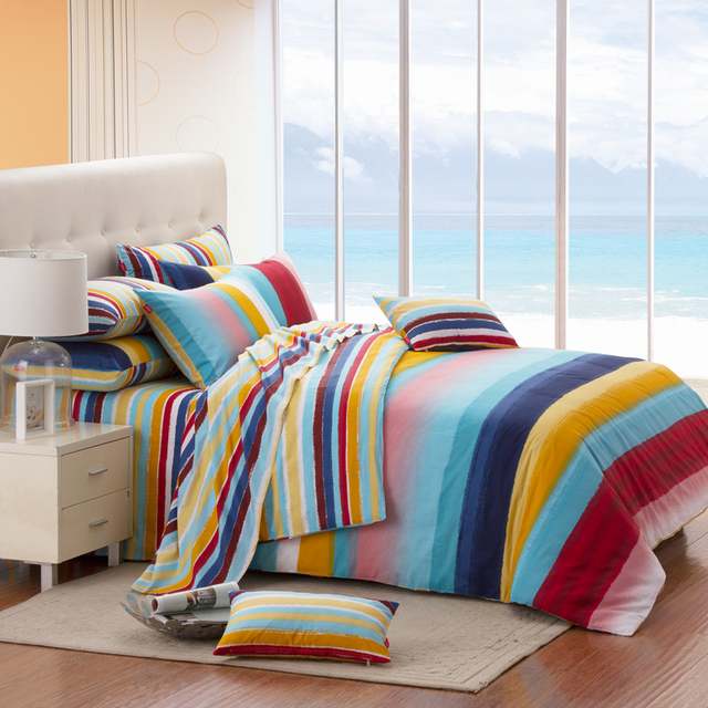 Cozzy cotton home textile 100% 40s-80s slanting 100% stripe cotton bedding duvet cover quilt separate bedding
