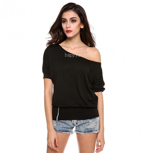 2014 sexy trendy off shoulder women t shirt buttons top comfortable