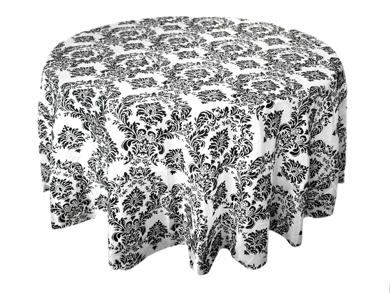 10PCS 120 inch Round Black White Flocking Damask Table tablecloths For Wedding Table Linen Banquet Party Decorations(China (Mainland))