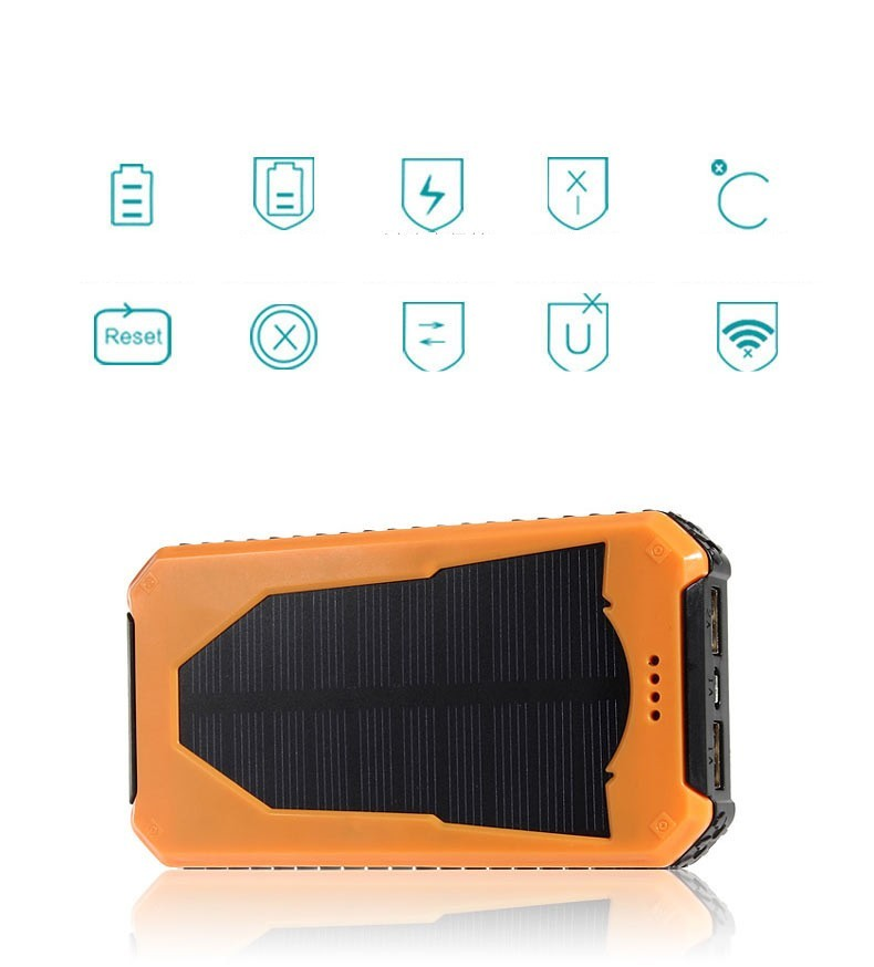 New solar power bank with camping lamp 12000mah double interface external charger mobile power bank for all phones