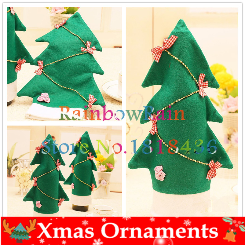 New Design Christmas Bottle Cover Green Pine Tree Home Decoration Table Decor Rose Bow On Wine Bottle Christmas Gifts Packaging