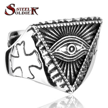 steel soldier 2015 New Eye of Providence All-seeing Eye Ring Stainless Steel Cool Movie Ring For Man BR8-176(China (Mainland))