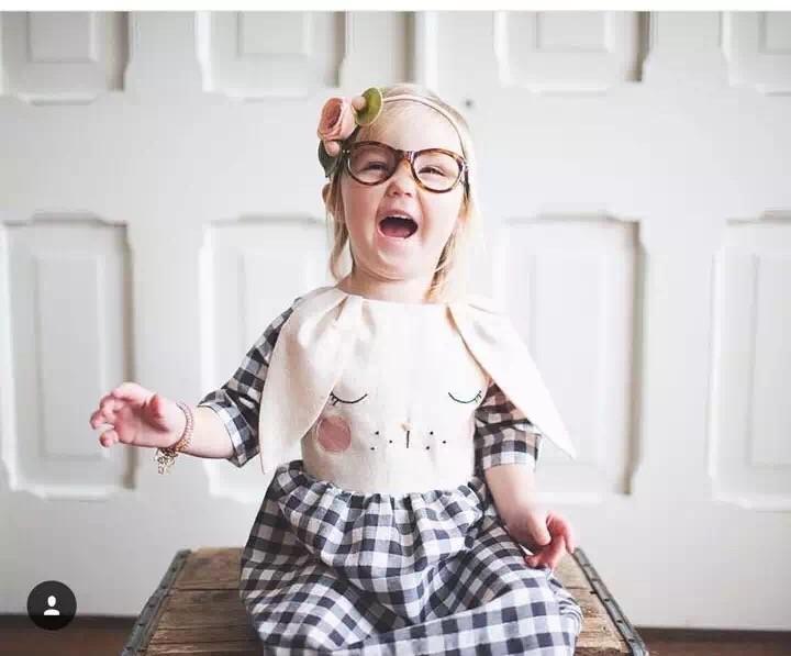 wholesale New 2016 spring autumn girls babys cartoon rasbbit cute plaid dresses<br><br>Aliexpress