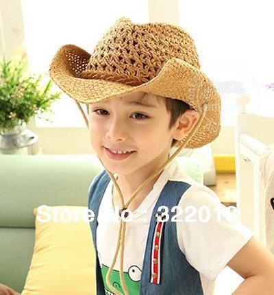 Wholesale 12pcs 2015 NEW Natural Knit Children Straw Cowboy Hat COOL Kids Straw Hats Boys & Girls Beach Sun Caps Summer Sun Cap(China (Mainland))