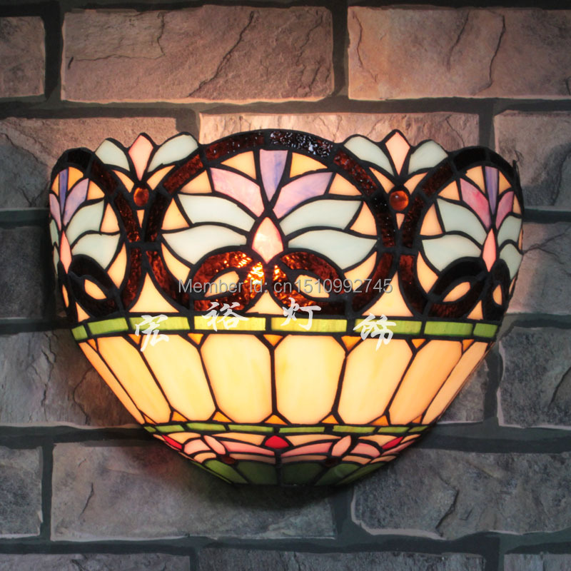 Wall Sconces Victoria Bc: Antique Tiffany Victoria Wall Lamp Stained Glass Lampshade