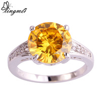 lingmei Fashion Gorgeous Jewelry Round Citrine White Topaz Silver Ring Size 6 7 8 9 10 11 12 13 Love Style Gift Rings Wholesale