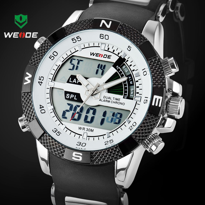 Hot Sale WEIDE Luxury Brand Men Sports Watch 3ATM Waterproof Multifunction Quartz Digital LED Backlight Military Watches(China (Mainland))