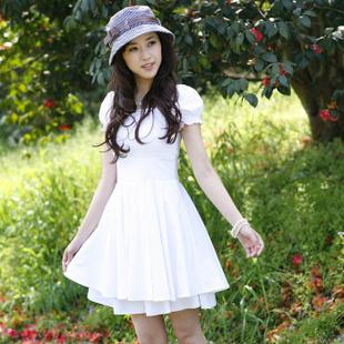2013 summer gentlewomen elegant princess school wear AYILIAN 100% cotton one-piece dress white