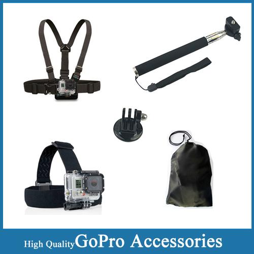 SJ4000 Accessories Monopod Tripod Mount Adapter +Chest Belt + Head Strap +Strap Bag For Gopro Hero 4/3+/3/2 SJ4000 SJ5000 SJ6000(China (Mainland))