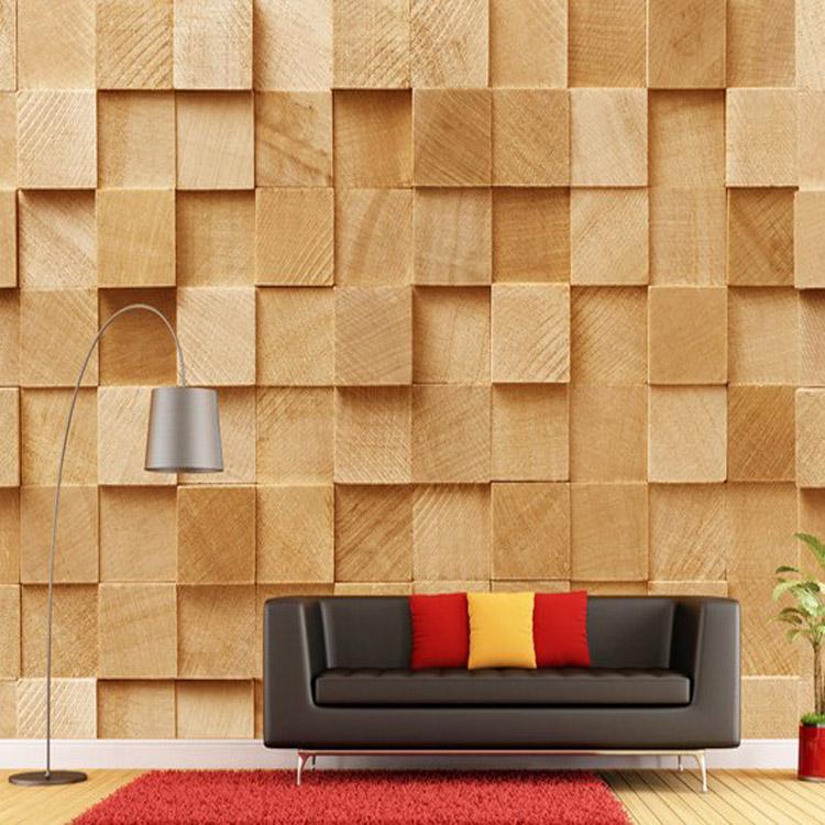 Restaurant Dessert Cafe lounge sofa background seamless personality retro brick pattern wood wallpaper 3D
