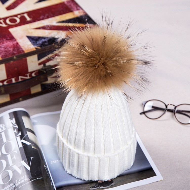 High quality mink fur hats Pom poms winter hat for women plus velvet caps knitted beanies brand new thick bonnet femme