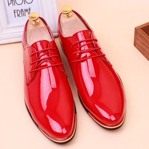 Hot sale plus size men oxfords pointed toe patent leather for What kind of shoes to wear with wedding dress