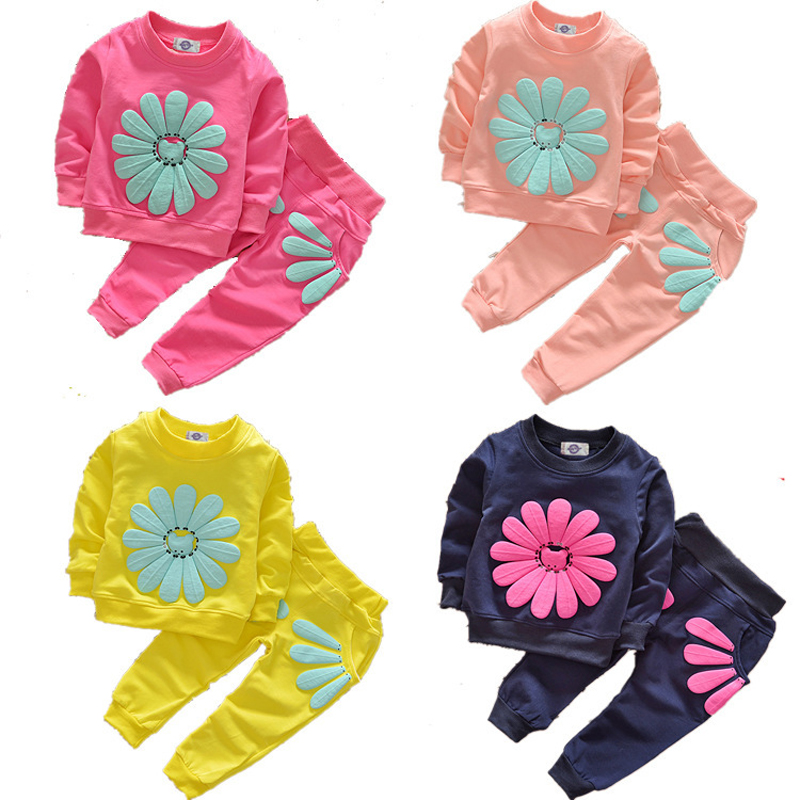 New 2016 Spring Girls Kids Clothes Long Sleeve Sunflower Children Clothing Sets Sunflower Girls Cotton Suits Fashion Kid Clothes(China (Mainland))