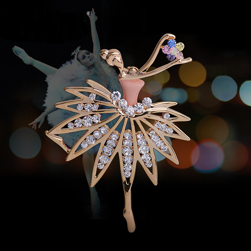 special korean fashion handmade zinc alloy 14K gold plated crystal noble female ballet girl brooch - DongGuan NiHao Hardware Gifts Co.,Ltd store
