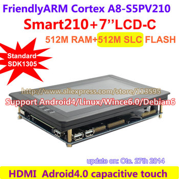 Free shipping FriendlyARM Development Board Smart210 + S702 7inch Capacitive  LCD 512M RAM+512M Flash Cortex A8 Android Linux