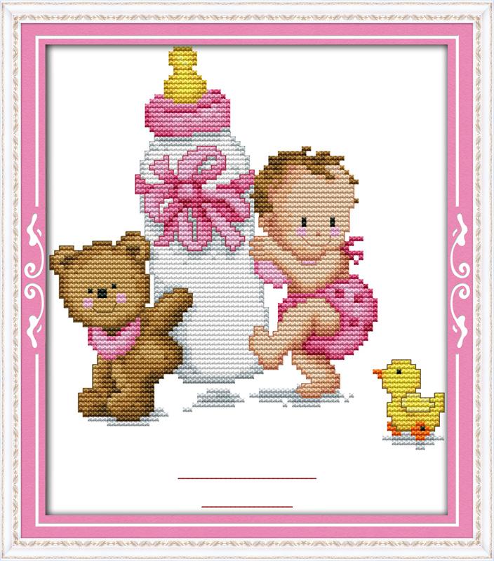 Bottle baby's birth certificate Diy 11CT 14CT Cross Stitch Set Wholesale Cross-stitch Kits Embroidery Needlework WR867(China (Mainland))