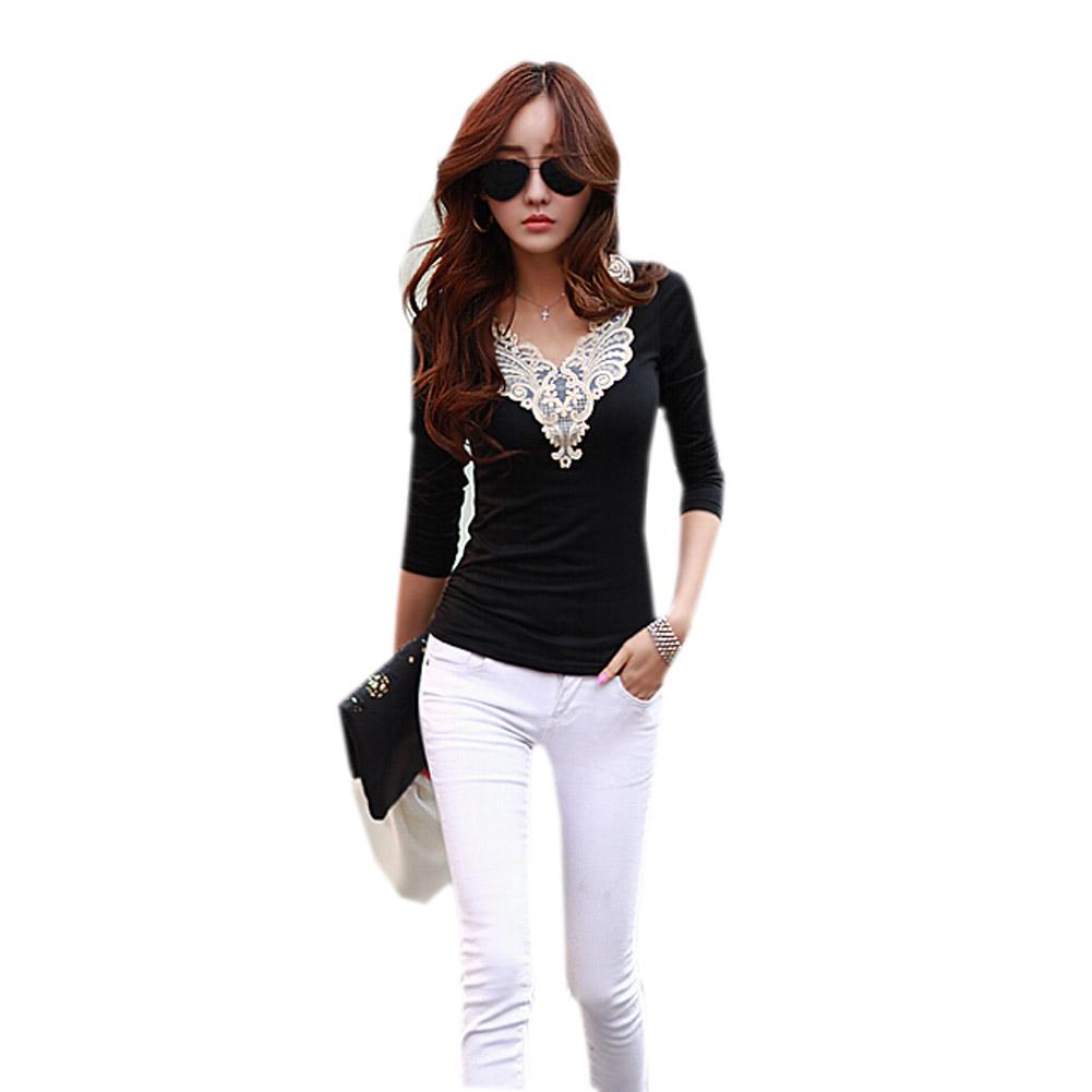 White t shirt women tops long sleeve shirt eyelash lace v for White long sleeve tee shirt womens