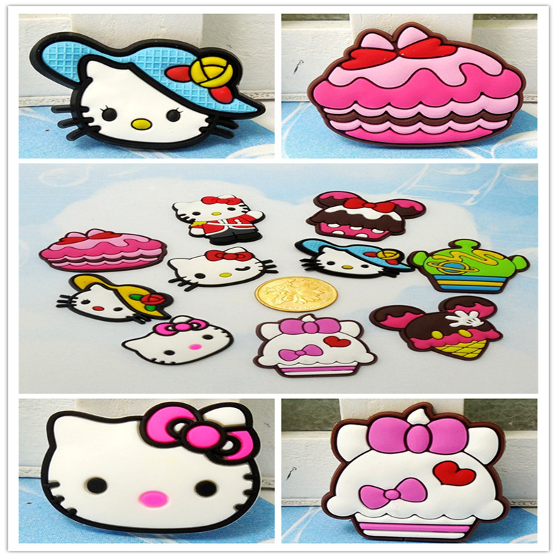 Top selling 100pcs Cartoon Q Hello Kitty Lovely Soft Decoration Accessories Flat PVC DIY Gadgets Fit Bracelets,Shoe kids gift(China (Mainland))