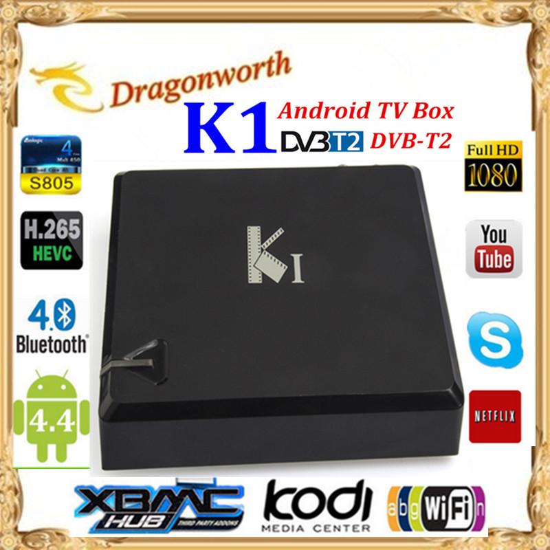 New Brand K1 Android TV Box DVB T2 Quad Core Amlogic S805 1G/8G XBMC Smart Google TV Bluetooth HD WiFiPC with DVB-T2 Free Ship(China (Mainland))