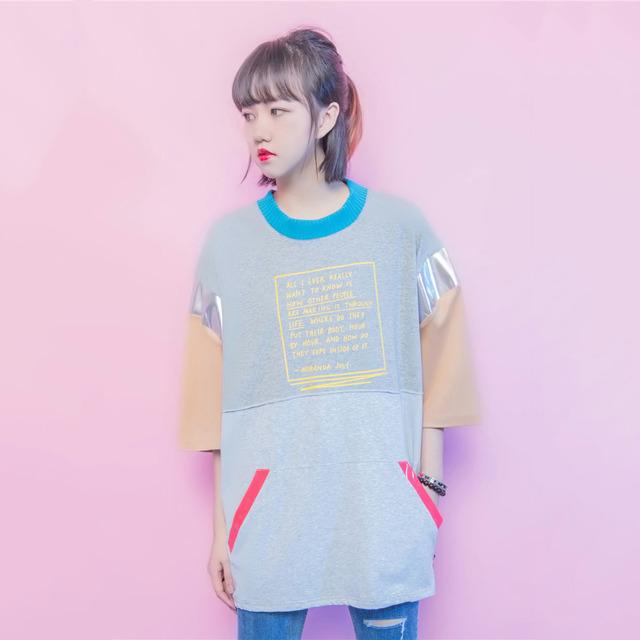 Японский Стиль Harajuku Футболку Femme Карманы Кожа PU Лоскутное Моды Футболка Для Женщин Ulzzang Стиляги-Большой Размер Рубашки