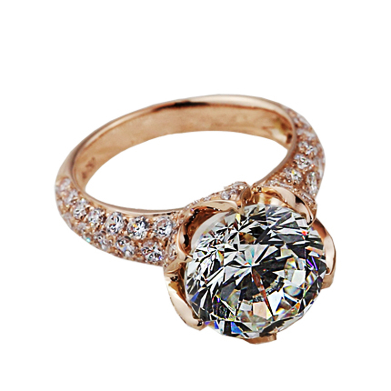 Brand Design 1CT Lotus Engagement Ring 925 Silver Jewelry Fine Synthetic Diamond Ring Rose Gold Plated 18K Wedding Ring Bridal(China (Mainland))