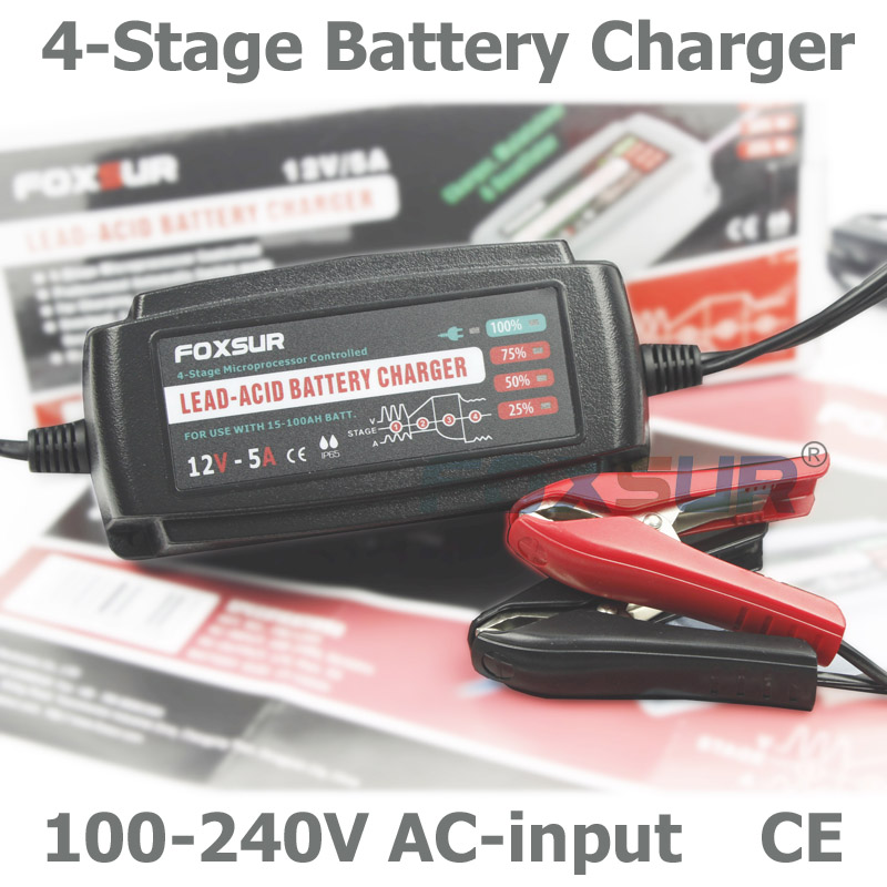 12V 5A Automatic Smart Battery Charger, Maintainer & Desulfator for Lead Acid Batteries, Car Battery Charger 100-240V AC input(China (Mainland))