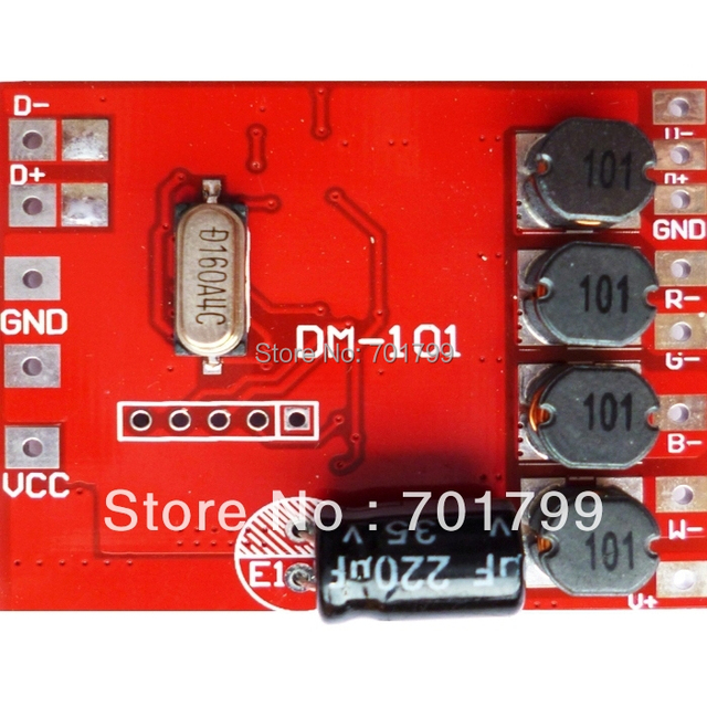DM-101;4 channel RGBW dmx constant current decoder,DC12-24V input,300ma*4channel output