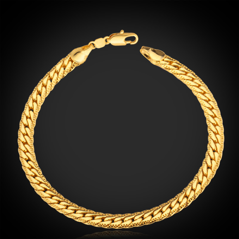 Gold Bracelet With '18K' Stamp High Quality Chain Bracelets 18K Real Gold Plated 5MM 21CM 2015 Fashion Men Jewelry H739(China (Mainland))
