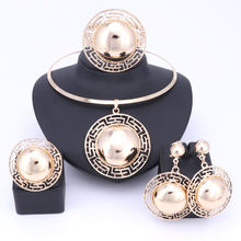 חתונה כלה תכשיטי סטים לנשים שרשרת צמיד עגילי טבעות זהב צבע דובאי אפריקאי חרוזים הצהרת אבזרים(China)