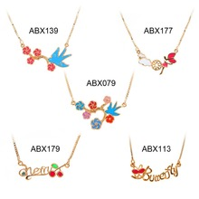 "Wholesale 5 Styles Children Girls Baby Kids Jewelry Cute Brightly Multicolor Flower Leaf Letter 13"" Necklace & Pendant Hot Gift(China (Mainland))"