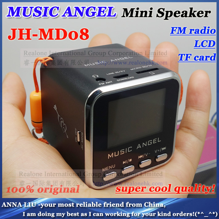 Portable MUSIC ANGEL speaker MD08 mini sound box support TFcard+FM+LCD screen+original quality+ 2DHL - ANNA L --BEST AS I CAN store