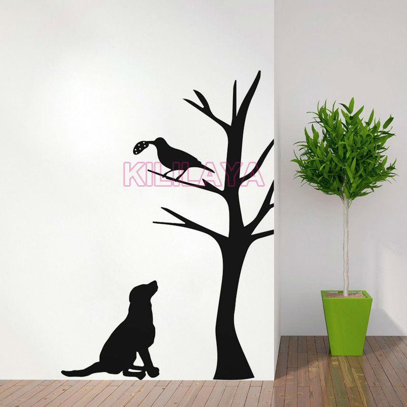 Wall Stickers Dog Bird Tree Vinyl Wall Sticker Pet Walls Decal Home Decor Walls Decals Art for Kids Living Room House Decoration(China (Mainland))