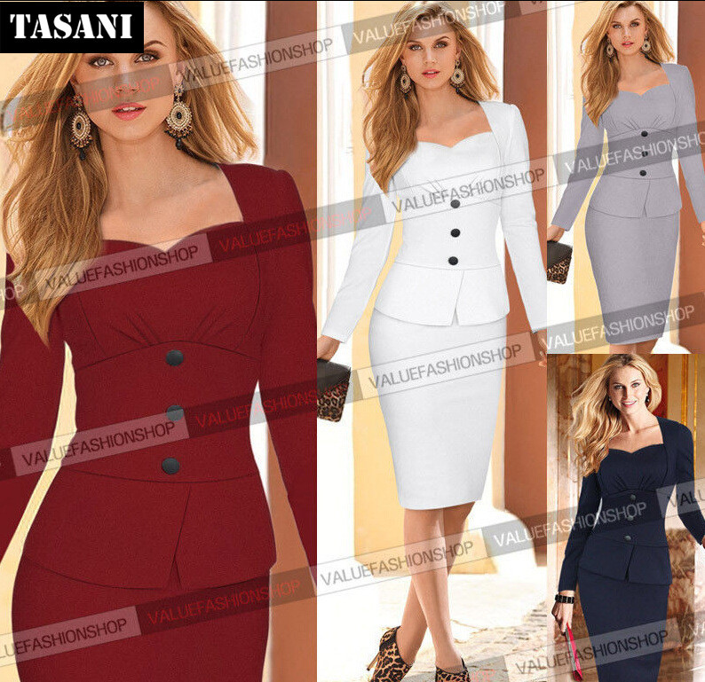Fashion 2015 Slim Women Dress Long Sleeve Dresses OL Elegant Pencil Party Bodycon Clothing Woman V2006 - TASANI store