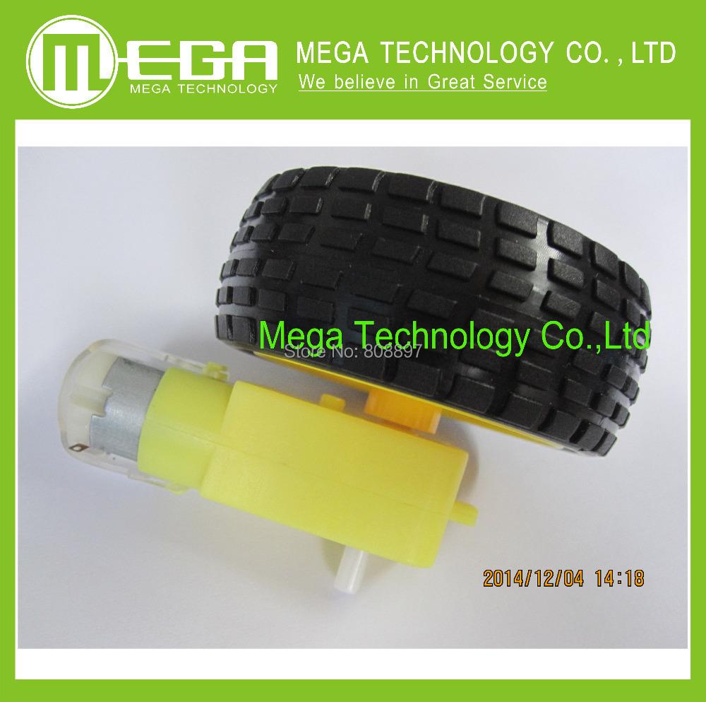 Гаджет  !!! 4Lot/package Deceleration DC motor + supporting wheels , a / smart car chassis, motor / robot car wheels None Электронные компоненты и материалы
