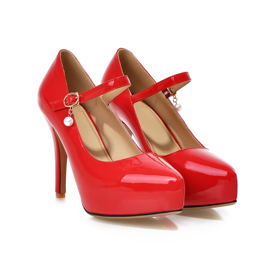 PU patent leather pointed toe Mary Janes pumps plus sizes women shoes high thin heels platform dress 22cm-25.5cm