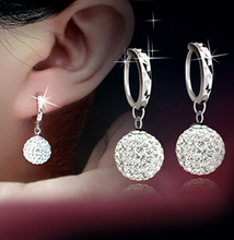 2015 Earings Fashion Jewelry One Pair Crystal Earring 925 Sterling Silver Jewelry Dangle Pendientes Hoop Earrings For Women(China (Mainland))
