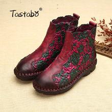 Tastabo Folk Stijl Martin Laarzen Lederen Enkellaarsjes Schoenen Vintage Moeder Vrouwen Schoenen Retro Handgemaakte Laarzen Voor Vrouwen(China)