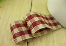 Free Shipping 25mm 1″ Weave Scotish Checked Ribbons Grid Ribbon 50yard/lot