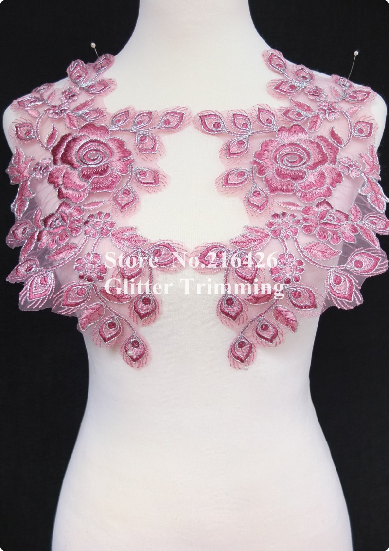 1pair=2pcs x Newest 2-Tone Light Pink/Silver Mirror Pair Flower Embroidery Apparel Laces Appliques Trims Patches Fringe BNC113E(China (Mainland))