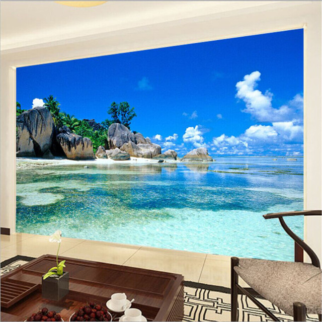 Paradise ocean sea beach custom mural wallpaper free for Custom mural wallpaper uk