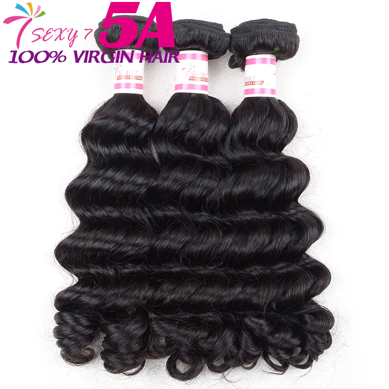 SEXY 7 brazilian deep wave virgin hair natural black hair cheap brazilian hair 3 pcs lot(China (Mainland))