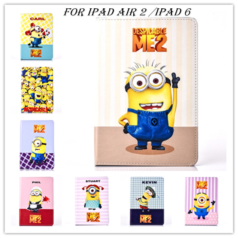 freeshipping 2016 New Minion Despicable Me flip case for apple ipad Air 2 Air2 pu leather case stand smart cover skin for Ipad 6(China (Mainland))