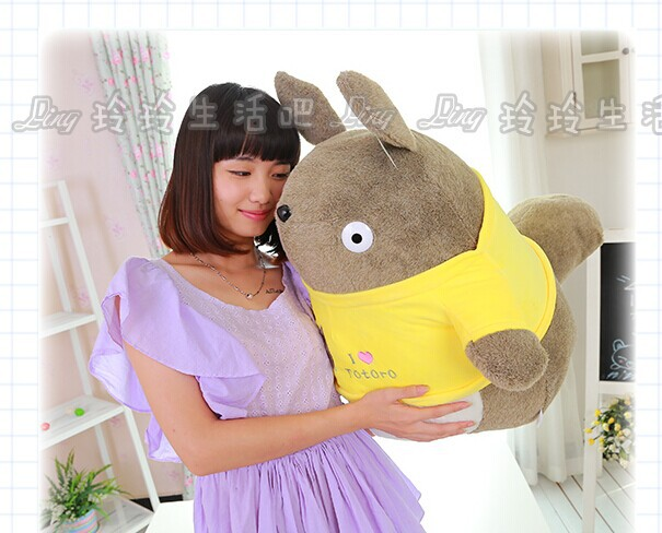 big lovely Totoro plush toy stuffed totoro doll with yellow coat birthday gift about 55cm(China (Mainland))