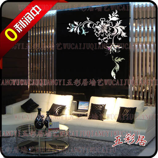 Wholesale luxury ikea diy acrylic 3d wall mirror stickers romantic flower vin - Miroir stickers ikea ...