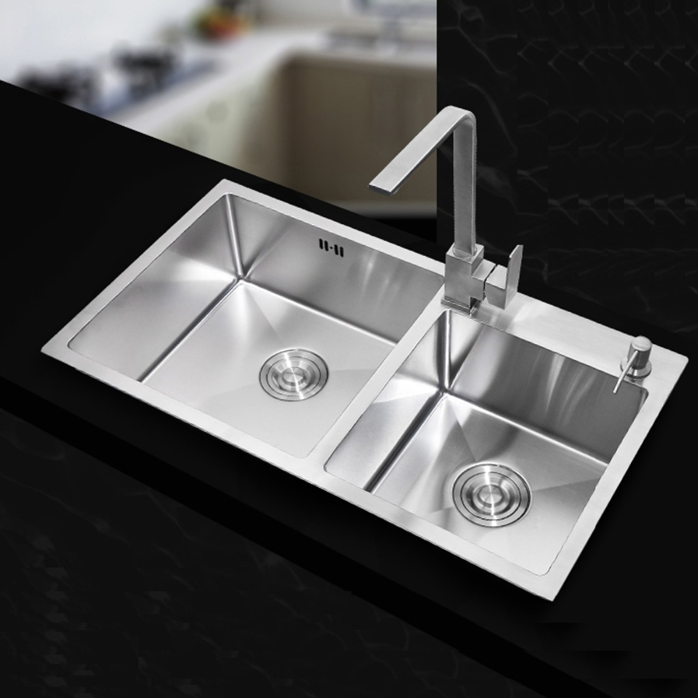 710 420 220mm Stainless Steel Undermount Kitchen Sinks Sets Double Bowl Drawing Double Drainer